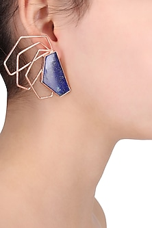 Rose Gold Plated Lapis Semiprecious Stone Earrings