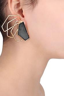 Gold Plated Black Onyx Earrings by Varnika Arora