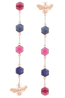 Rose Gold Plated Hydro Pink Quartz and Lapis Beeline Earrings by Varnika Arora