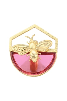Gold Plated Hydro Pink Quartz Bee Ring by Varnika Arora