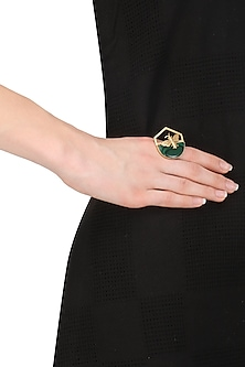 Gold Plated Malachite Stone Bee Ring