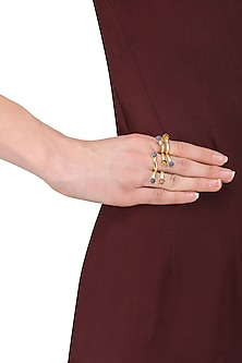 Gold Plated Lapis and Hydro Bear Quartz Ring by Varnika Arora