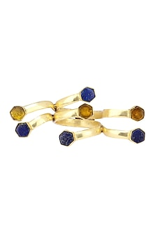 Gold Plated Lapis and Hydro Bear Quartz Ring by Varnika Arora