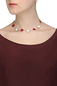 Rose Gold Plated Hydro Pink Quartz and White Mother Of Pearl Choker