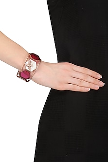 Rose Gold Plated Hydro Pink Quartz and White Mother Of Pearl Hand Cuff