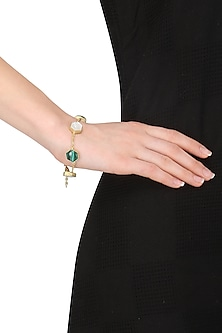 Gold Plated Malachite and White Mother of Pearl Bracelet by Varnika Arora