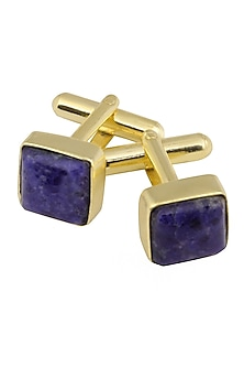 Gold Plated Sodalite Stone Statement Cufflinks