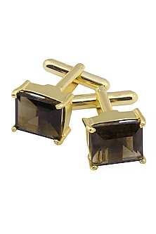Gold Plated Princess Cut Smoky Quartz Statement Cufflinks