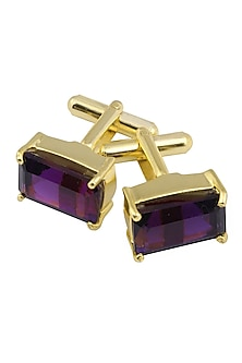 Gold Plated Emerald Cut Amethyst Statement Cufflinks by Varnika Arora