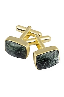 Gold Plated Green Serphanitet Statement Cufflinks by Varnika Arora