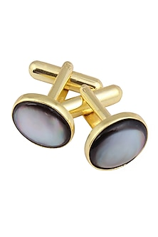 Gold Plated Black Mother of Pearl Statement Cufflinks