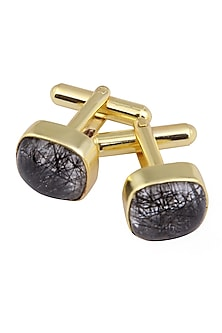 Gold Plated Tourmalined Quartz Statement Cufflinks by Varnika Arora