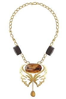 Gold Plated Black Onyx and Multi Chalcedony Statement Necklace by Varnika Arora