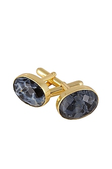 Gold Plated Petersite Semiprecious Stone Cufflink
