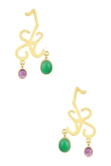 Gold Plated Green Onyx and Amethyst Stone Statement Earrings by Varnika Arora
