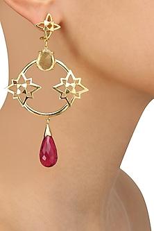 Gold Plated Lemon Quartz and Pink Quartz Stone Statement Earrings by Varnika Arora