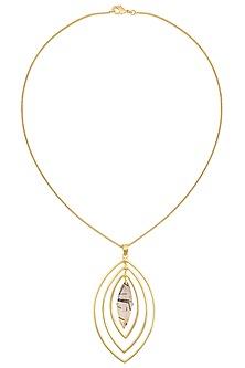 Gold Plated Black Rutile Stone Pendant Necklace by Varnika Arora