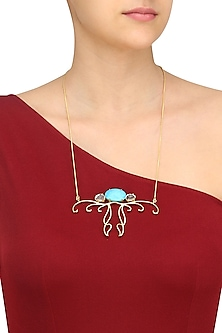 Gold Plated Turquoise Semiprecious Stone Pendant Necklace by Varnika Arora