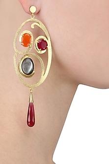 Gold Plated Empress's Radiant Swirl Earrings by Varnika Arora