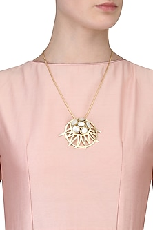 Gold Plated Rani's Gold Plated Pendant Necklace by Varnika Arora