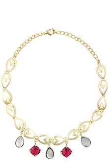 Gold Plated Pink Quartz and White Mother Of Pearls Choker by Varnika Arora