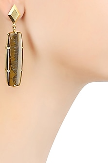 Gold Plated Cabochon Stone and Tiger's Eye Statement Earrings by Varnika Arora