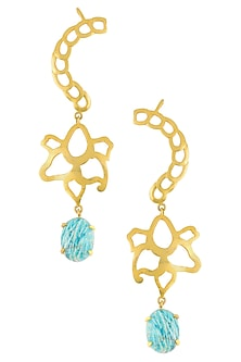 Gold Plated Amazonite Stone Statement Earcuffs by Varnika Arora