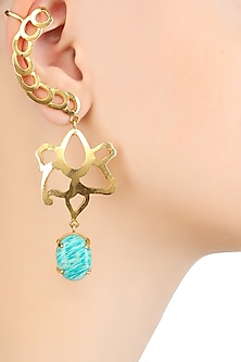 Gold Plated Amazonite Stone Statement Earcuffs