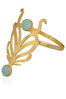 Gold Plated Cut Stones Amazonite Statement Wrist Palm Cuff by Varnika Arora