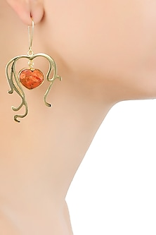Gold Plated Heart Cut Stone Coral Statement Sweetheart Earrings by Varnika Arora