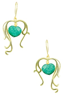 Gold Plated Heart Cut Stone Turquoise Statement Sweetheart Earrings by Varnika Arora