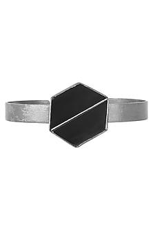 Gunmetal Plated Black Onyx Handcuff by Varnika Arora
