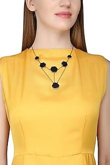 Gunmetal Plated Black Onyx Necklace by Varnika Arora
