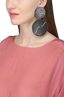 Gunmetal Plated Black Onyx Earrings by Varnika Arora