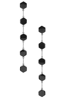 Gunmetal Plated Black Onyx Stones Earrings by Varnika Arora