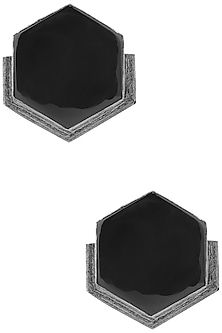 Gunmetal Plated Black Onyx Stud Earrings by Varnika Arora