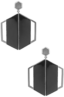 Gunmetal Plated Black Onyx Abstract Earrings by Varnika Arora