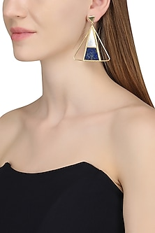 Gold Plated Mother Of Pearl and Blue Lapis Stone Earrings