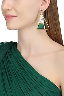 Gold Plated Green Onyx and Howlite Stone Earrings