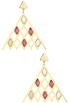 Gold Plated Mother Of Pearl and Pink Quartz Earrings by Varnika Arora