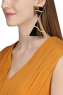Gold Plated Black Onyx and Tigers Eye Stone Earrings by Varnika Arora