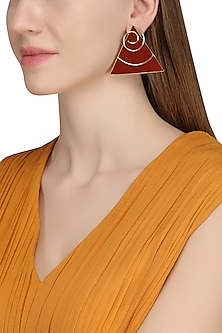 Gold Plated Red Jasper Stone Earrings by Varnika Arora