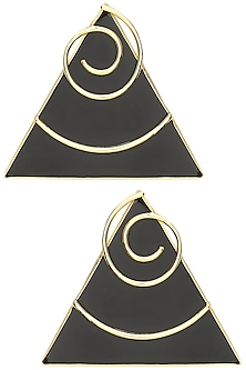 Gold Plated Black Onyx Stone Earrings by Varnika Arora