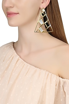 Gold Plated Mother Of Pearl and Black Onyx Earrings by Varnika Arora