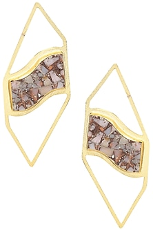 Gold Plated Mohave Pink Opal Stone Earrings by Varnika Arora