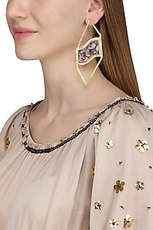Gold Plated Mohave Pink Opal Stone Earrings