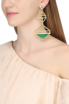 Gold Plated Green Onyx and Citrine Amethyst Stone Earrings