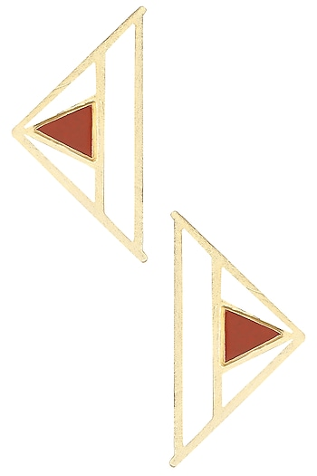 Gold Plated Red Jasper Stone Abstract Earrings by Varnika Arora
