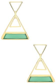 Gold Plated Green Onyx Stone Earrings by Varnika Arora