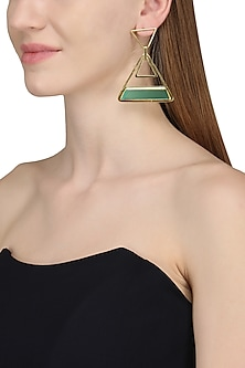 Gold Plated Green Onyx Stone Earrings
